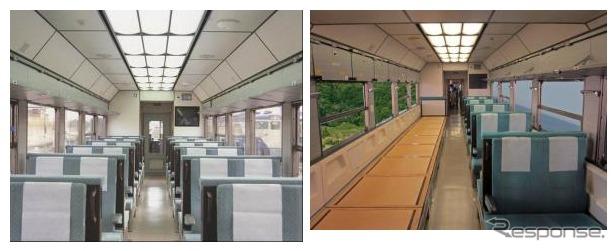 「ニューなのはな」の座敷はクロスシート(左)に変換することが可能。半座敷・半座席(右)にすることもできる。