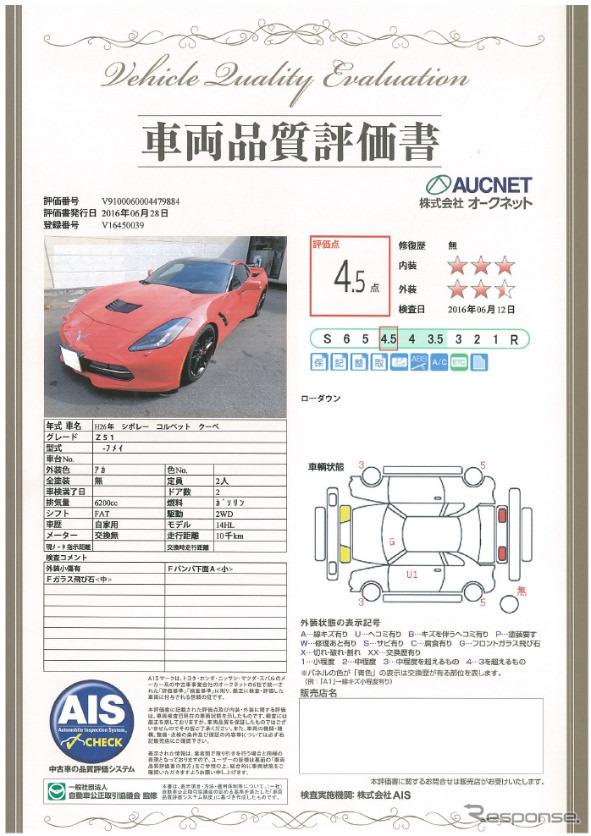 車両品質評価書