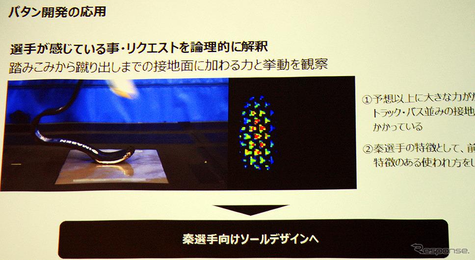 ブリヂストン、パラトライアスロン秦由加子選手用 新型ゴムソール発表(都内、4月18日)