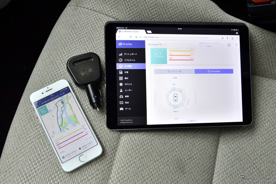 スマートドライブカーズではスマートフォンやタブレットで様々な車両情報を管理することができる