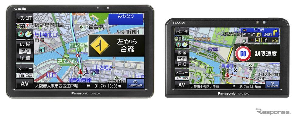 7V型モニターを備え道路マップ無料更新やVICS WIDE対応を省いた「CN-G720D」と5V型モニターを備える「CN-G520D」もラインアップしている