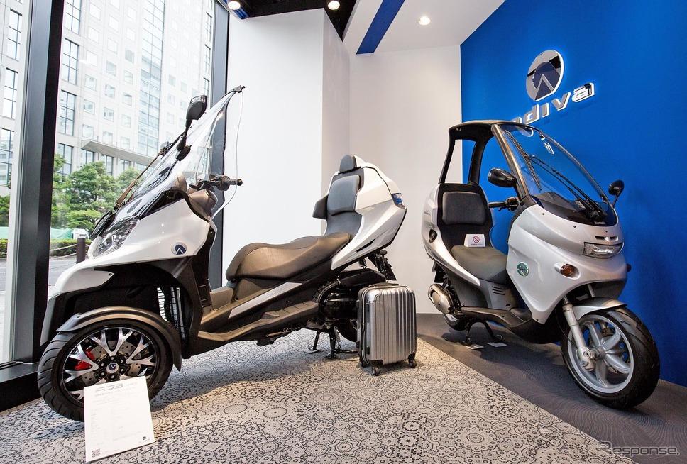 右のモデルは元祖屋根付きスクーターの「ベネリ・アディバ」