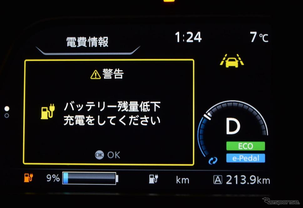 横浜から213km走行地点で充電を促すアラートが。おおむね残り9%でこうなる。