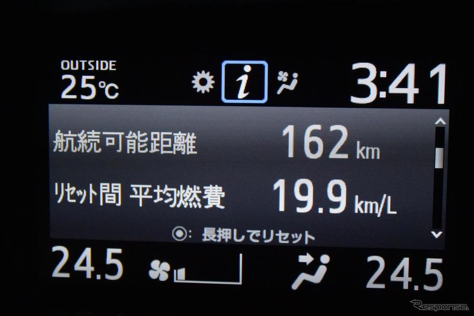 ダッシュボード上の液晶に平均燃費計を表示させてみた。