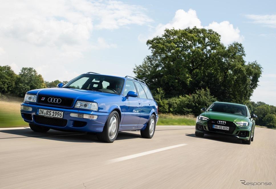 アウディ RS2(左)とアウディ RS4アバント