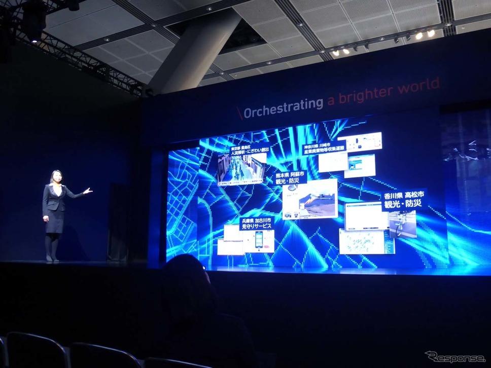 テーマステージではNECのが取り組む最先端技術&サービスの概要を説明