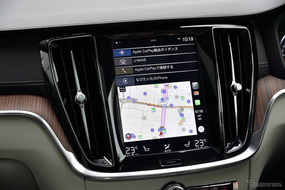 ボルボの縦型9インチディスプレイに表示されるナビタイム画面