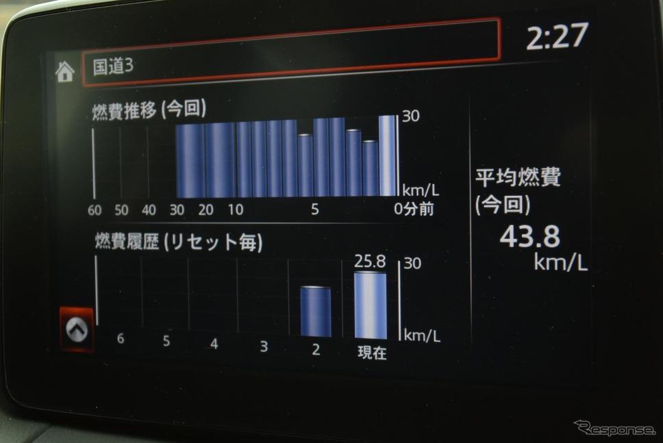熊本北部の平地で燃費アタック中。30分経過時点で燃費計値は43.8km/リットル。新ディーゼルの効率向上ぶりには目を見張った。