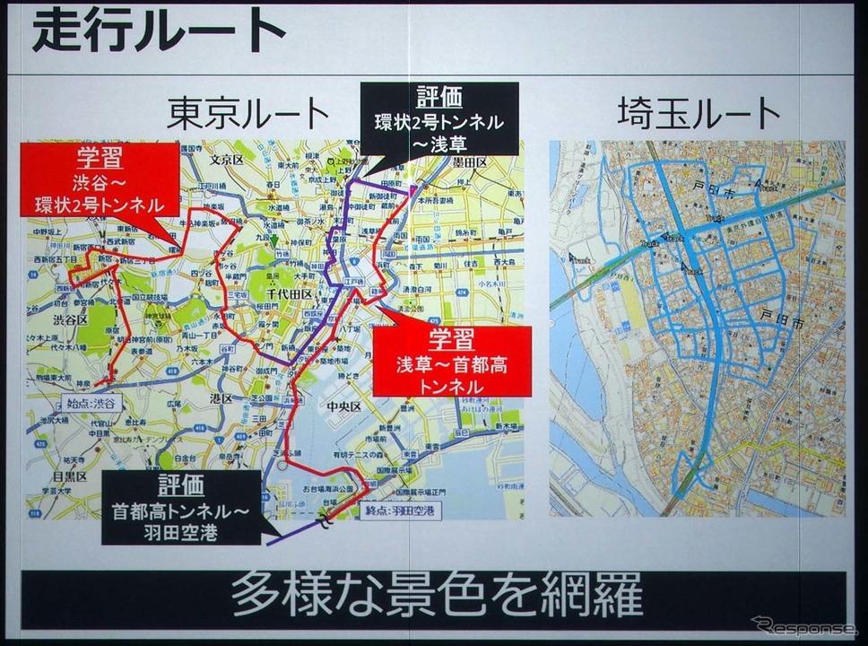 サンプルとして使われたルートは東京と埼玉の2エリアが選ばれた