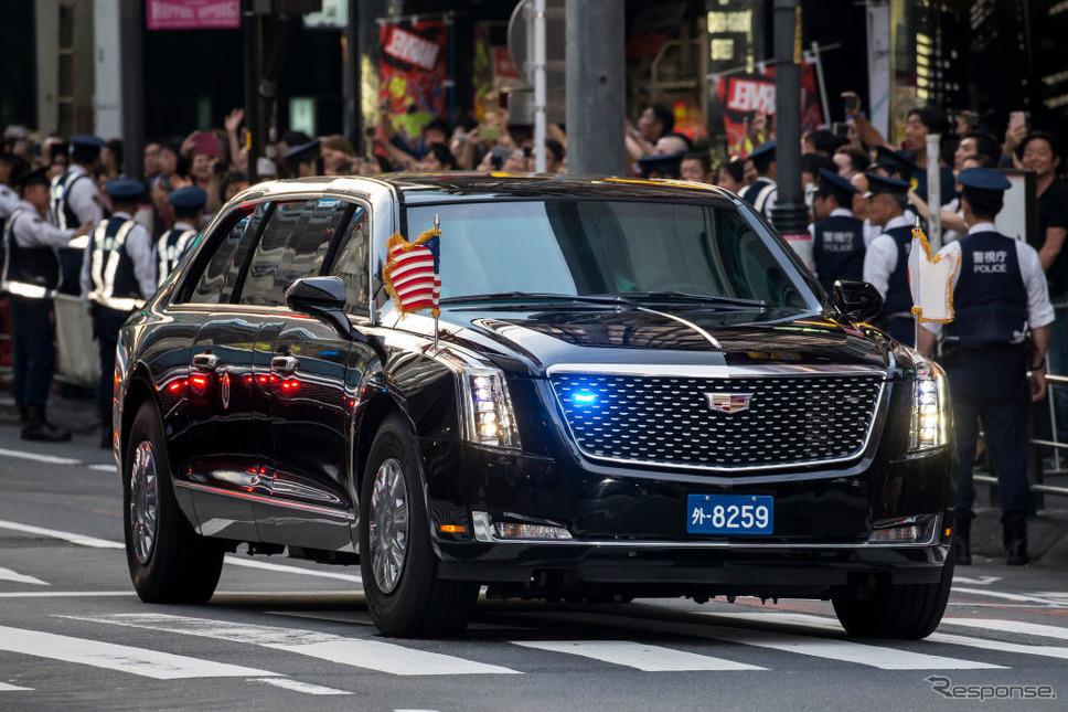東京を走る米大統領専用車。