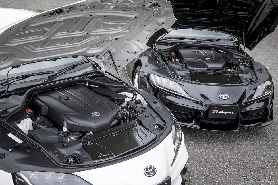 トヨタ スープラ 新型の6気筒エンジン(手前)と4気筒エンジン