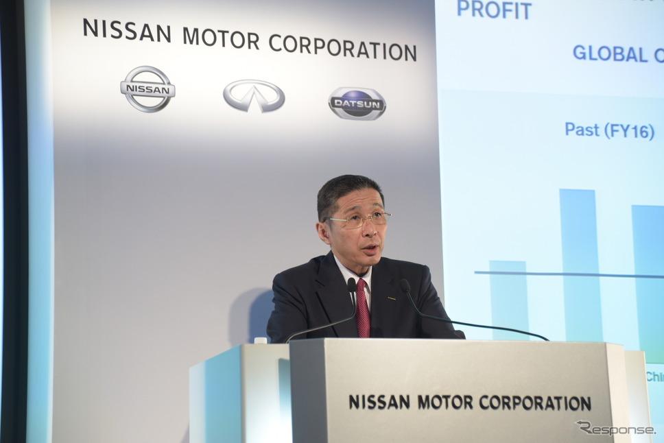 決算を発表する日産自動車の西川社長(5月15日)