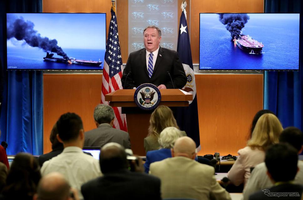 タンカー攻撃について説明する米国務長官のマイク・ポンペオ。