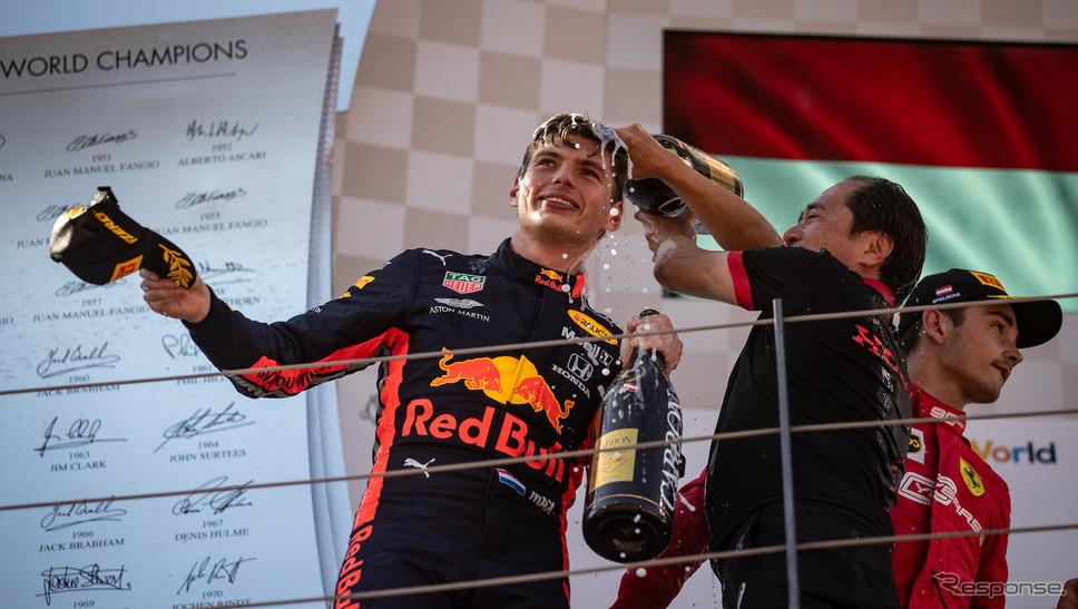 F1オーストリアGPで優勝したフェルスタッペン(レッドブル・ホンダ)。
