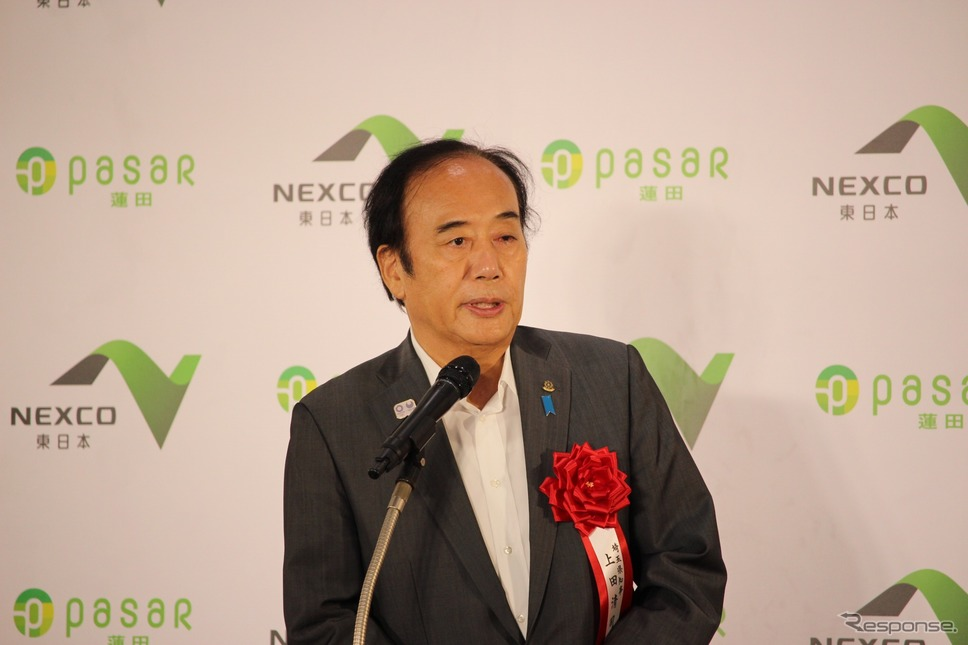 完成披露会には埼玉県の上田清司知事も来場