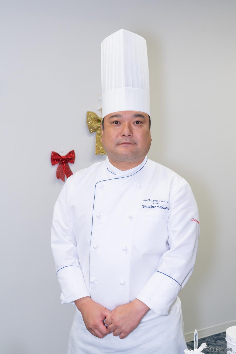 東京ステーションホテルオリジナルケーキの制作を担当した、シェフパティシエの瀧澤一茂氏