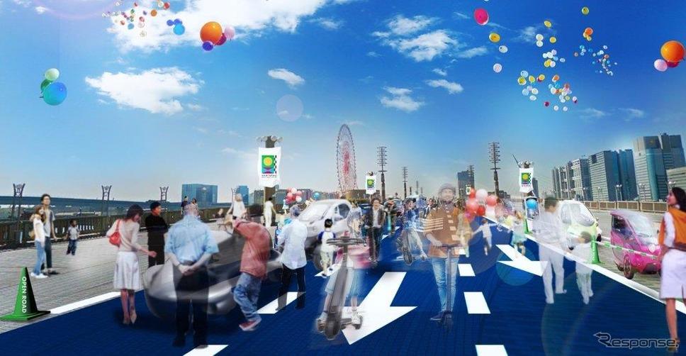 東京モーターショー2019会場の2つのエリアを結ぶOPEN ROAD