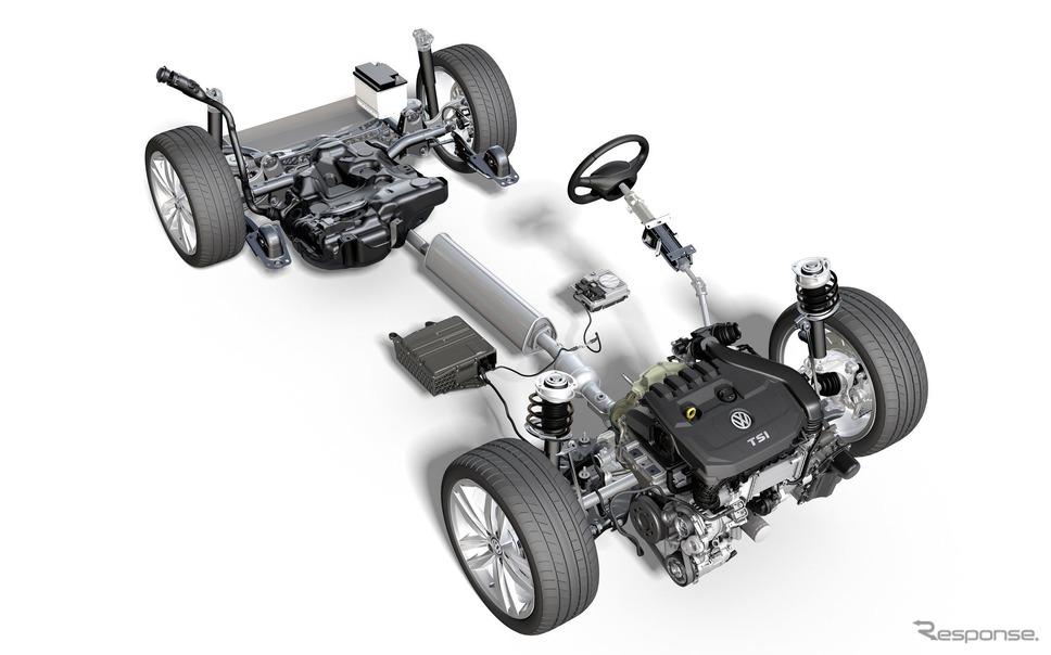 VW ゴルフ 新型の48Vマイルドハイブリッドパワートレイン