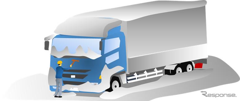 トラックから雪下ろしをするイメージイラスト