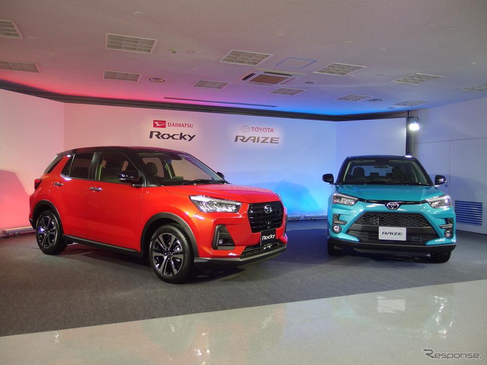 ダイハツ・ロッキー新型(赤)と、トヨタへOEM供給されるトヨタ・ライズ。