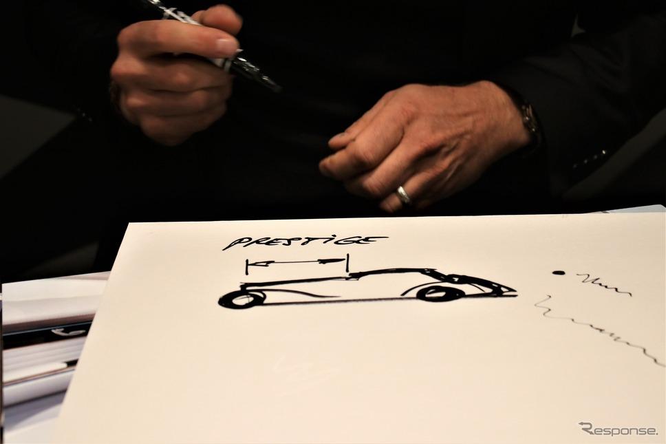 過去のメルセデス540Kのイラストをもとに説明