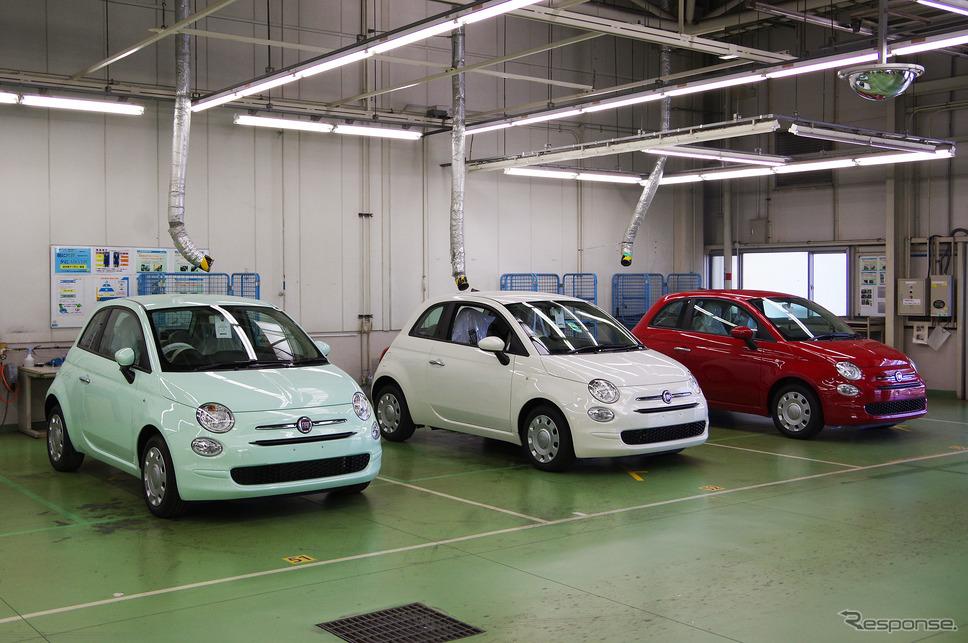 豊橋のFCAジャパン新車整備センターに並んだフィアット500。図らずもイタリアンカラーだ