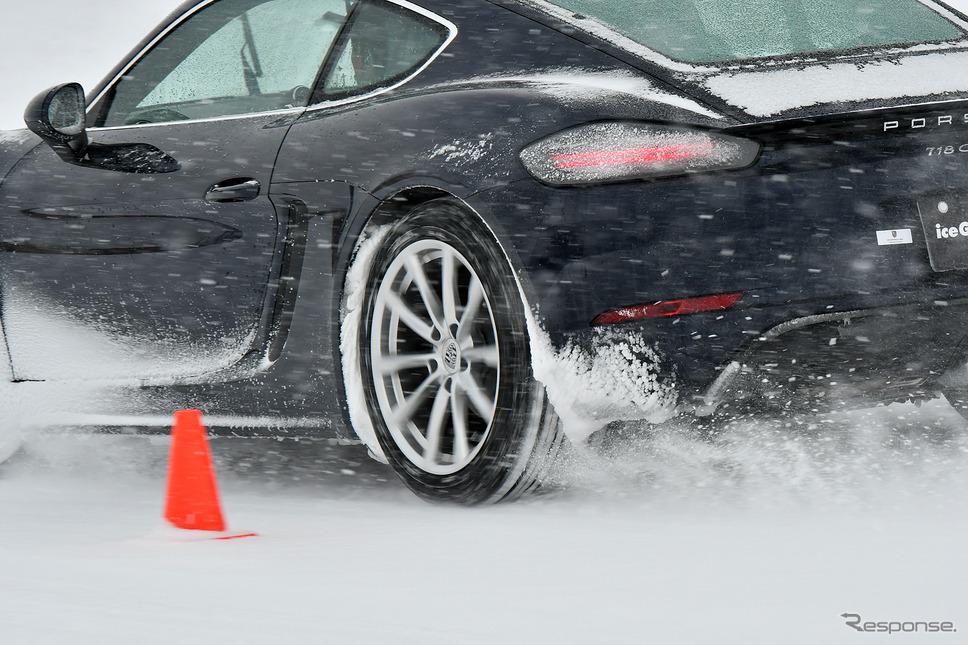 低偏平のIG60を装着した718ケイマンを駆り総合圧雪路でスラロームを試した
