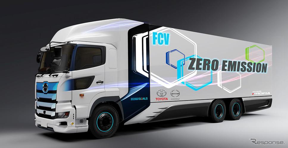 トヨタと日野が協同開発する燃料電池トラックのイメージ