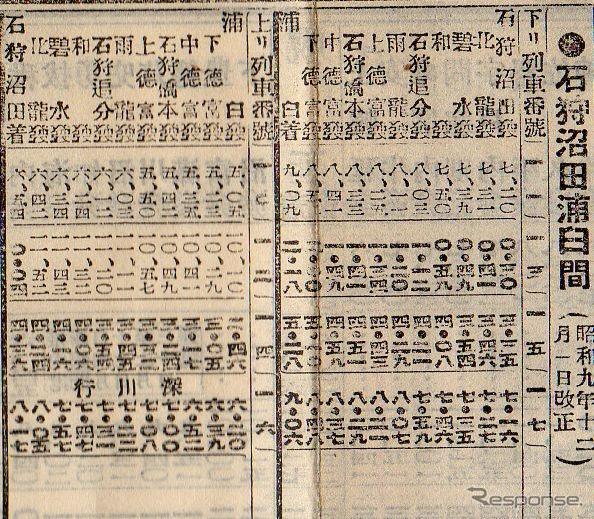 1934年12月当時の札沼北線浦臼~石狩沼田間時刻表。1972年に廃止された中徳富(後の新十津川)~石狩沼田間を含み、1日4往復が運行されていた。