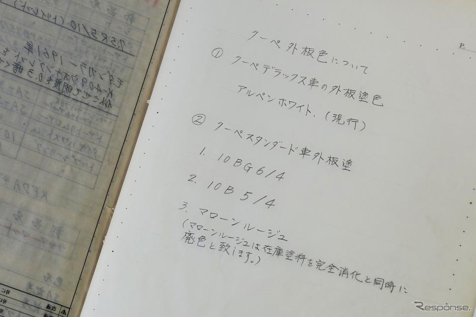 マツダ R360クーペの手書き資料