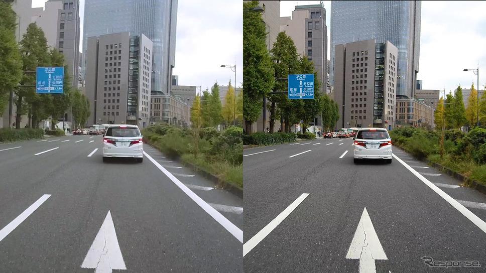 前モデルDVR3000は3Mピクセルを越える画質(左)だったが、新製品の4K対応DVR3400との画質(右)は歴然