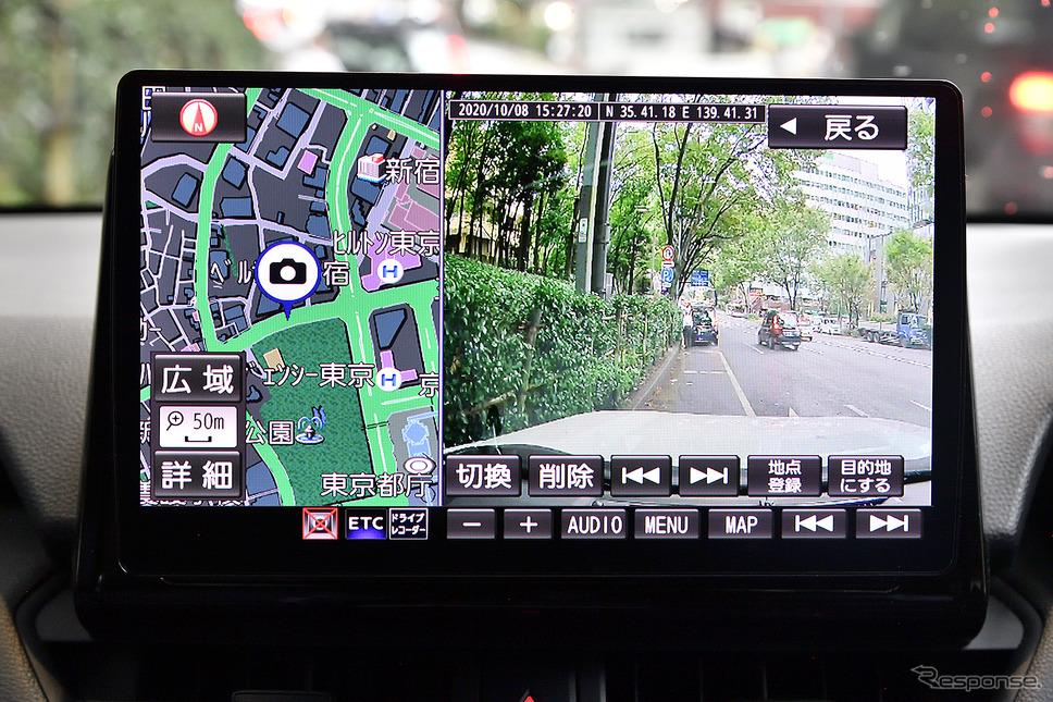 カーナビゲーション内に収められたドライブレコーダーの映像は、録画場所も含めて1画面で表示出来る