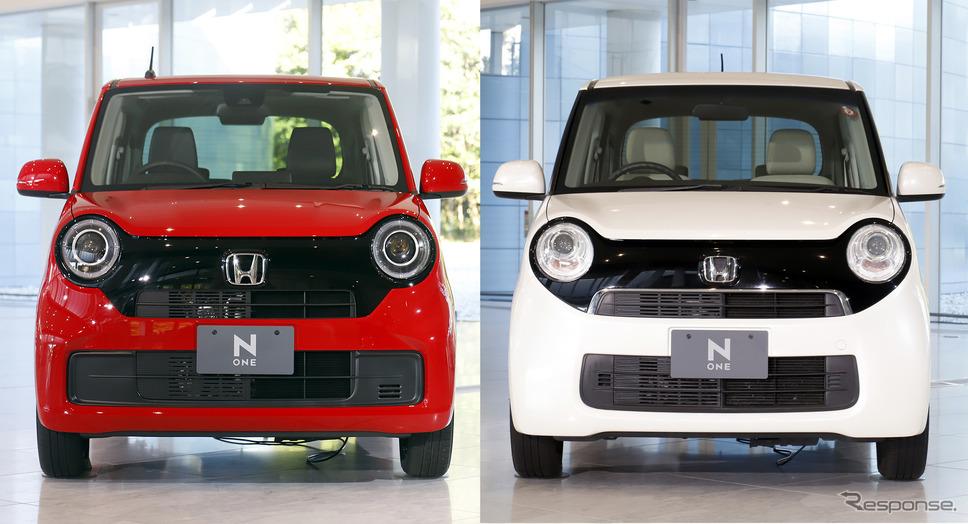 ホンダ N-ONEの新旧フロントビュー比較(左が新型、右が先代)